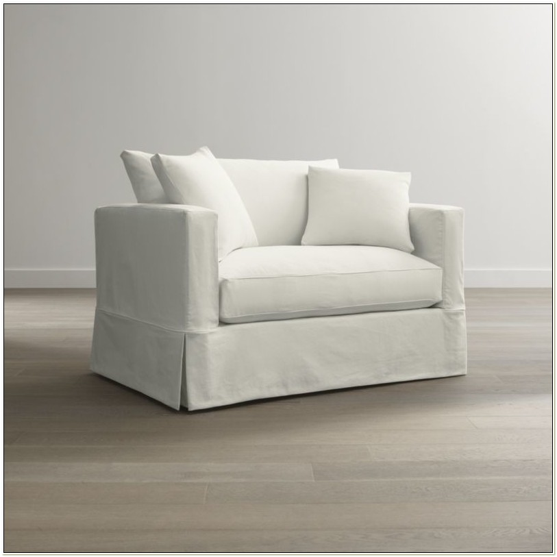 White Slipcover Chair And A Half