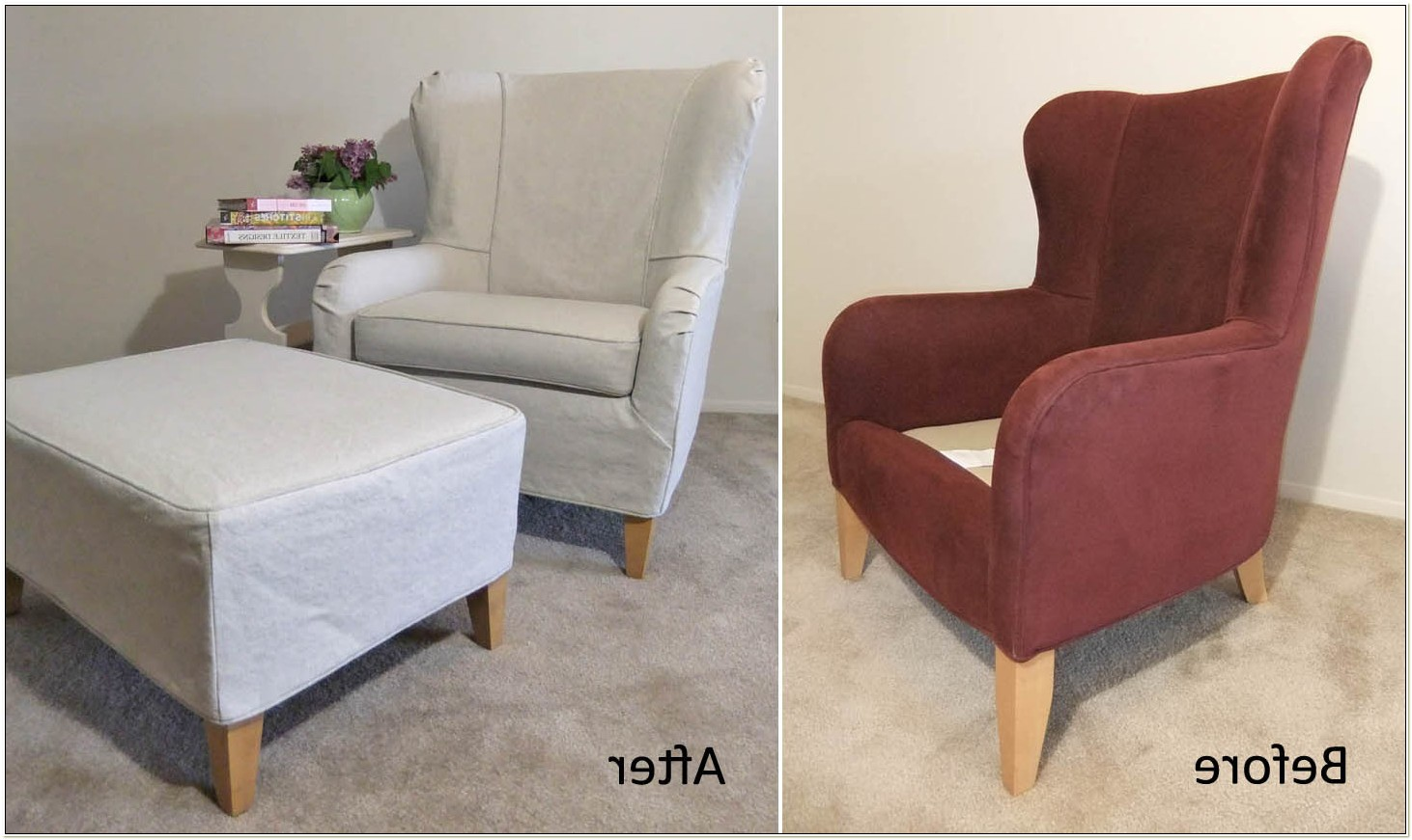 Wingback Chair And Ottoman Slipcover