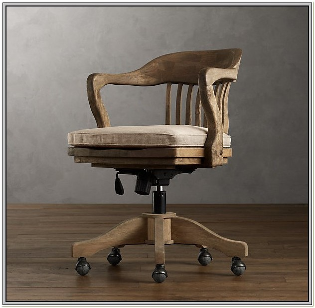 Wooden Bankers Desk Chair