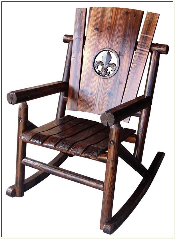 Wooden Fleur De Lis Rocking Chair