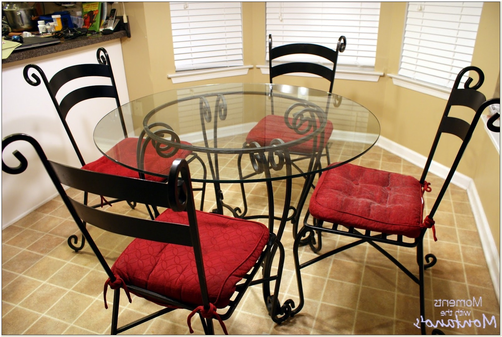 Wrought Iron Glass Top Table And Chairs