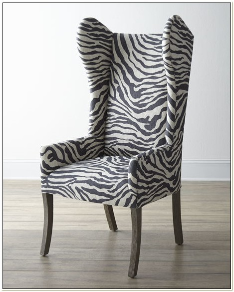 Zebra Print Wing Chair