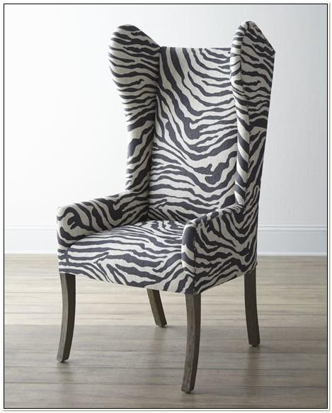 Zebra Print Wing Chair