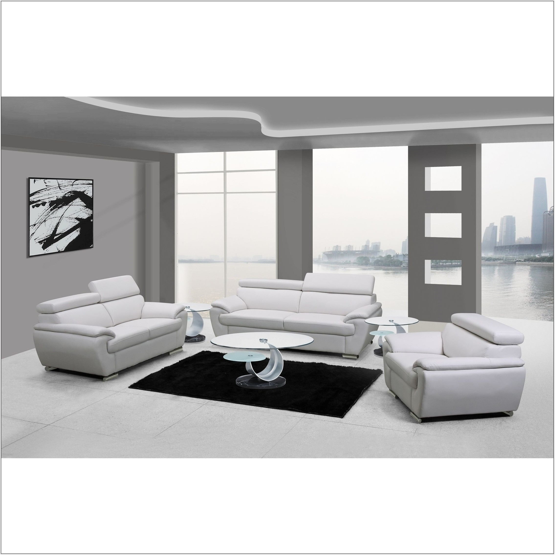 3 Piece White Living Room Set