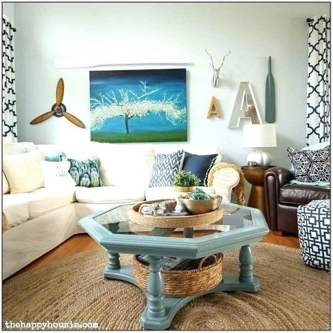 Aqua Brown And Grey Living Room
