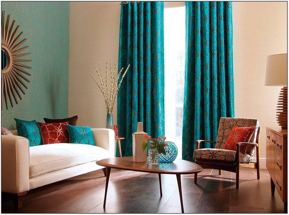 Aqua Curtains Living Room