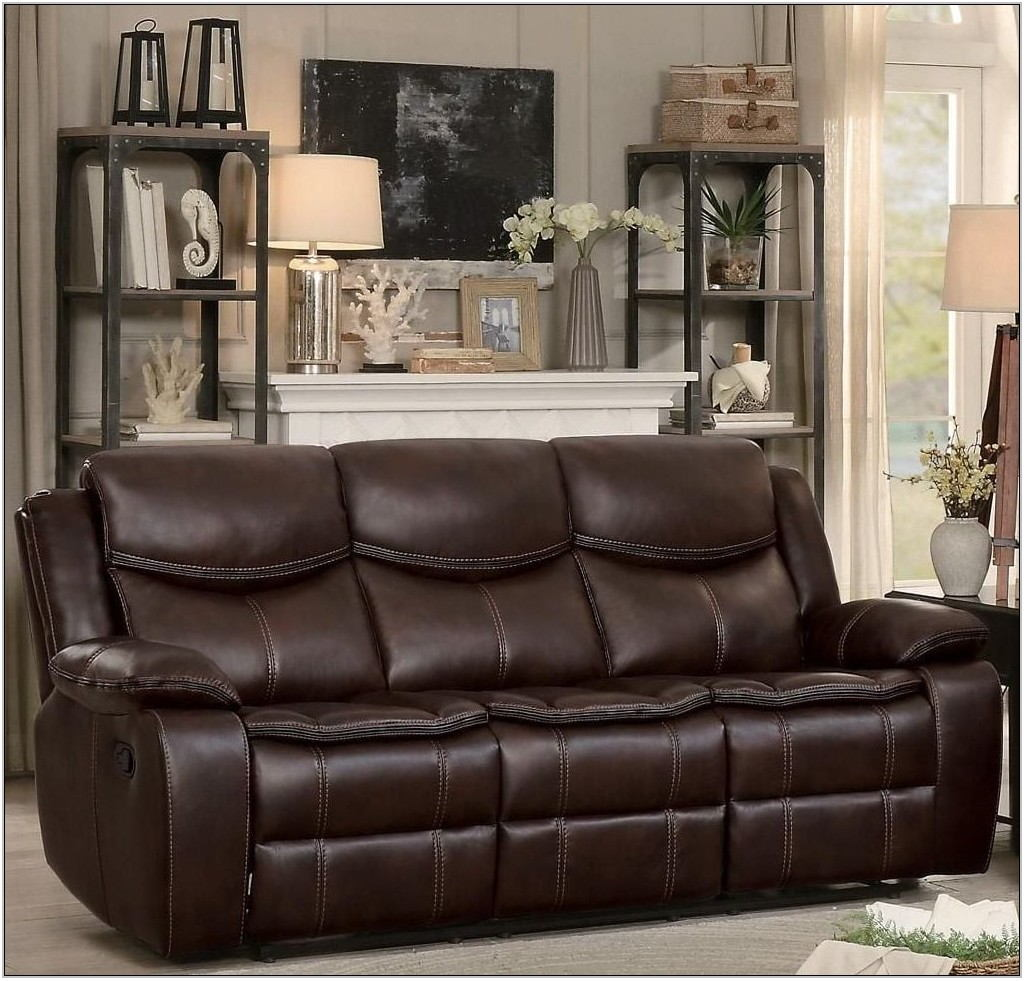 Bastrop Brown Leather Reclining Living Room Set