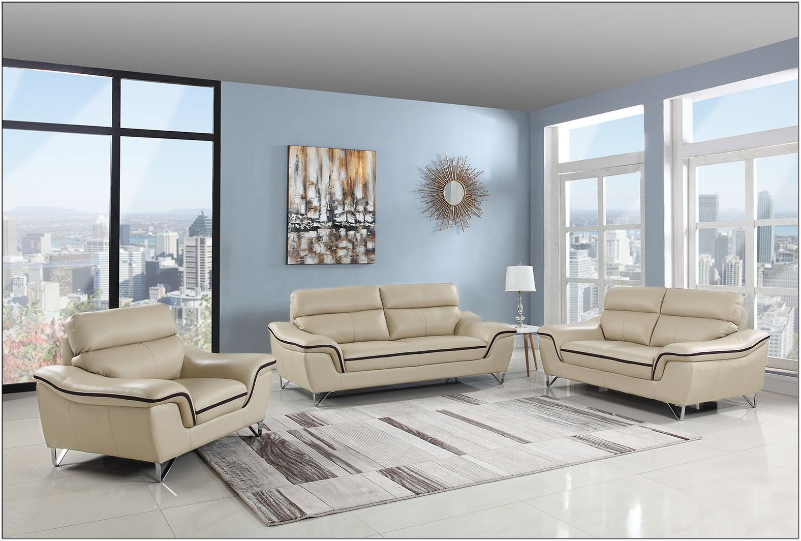 Beige Leather Living Room Furniture