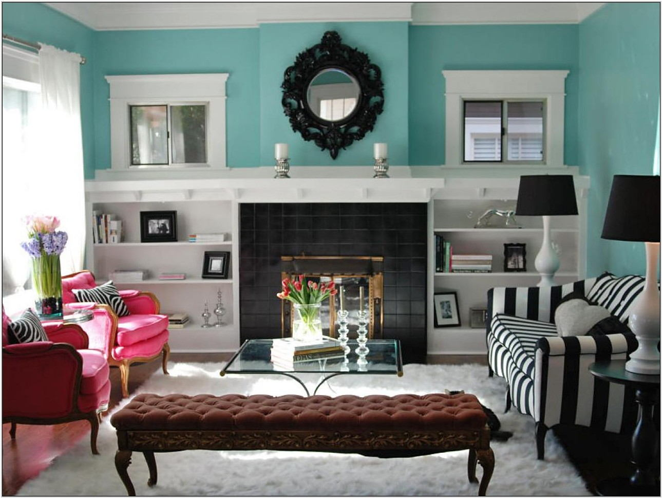 Black And Aqua Living Room