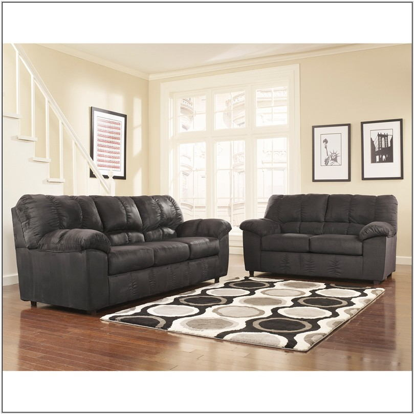 Black Fabric Living Room Set