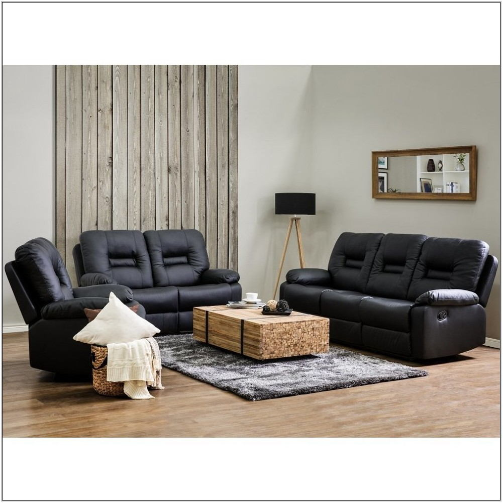 Black Faux Leather Living Room Set