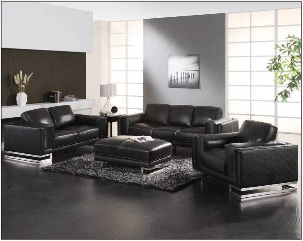 Black Leather Living Room