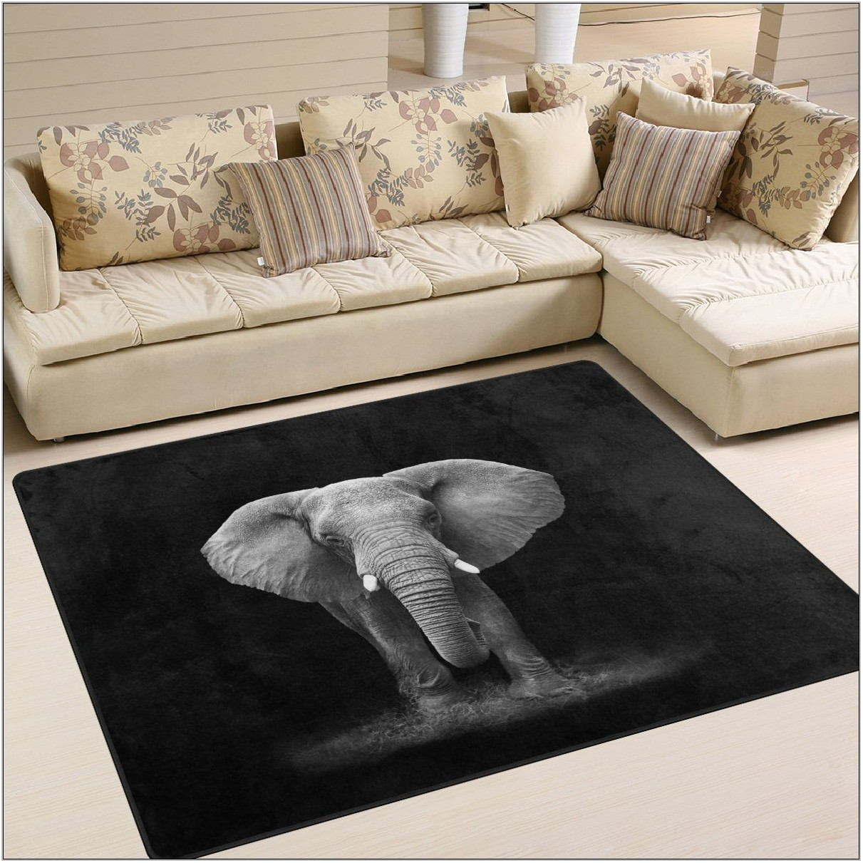 Black Living Room Area Rug
