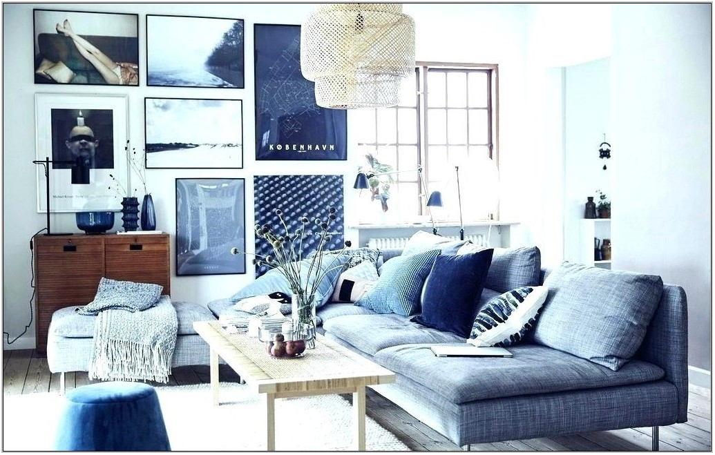 Blue Grey Sofa Living Room
