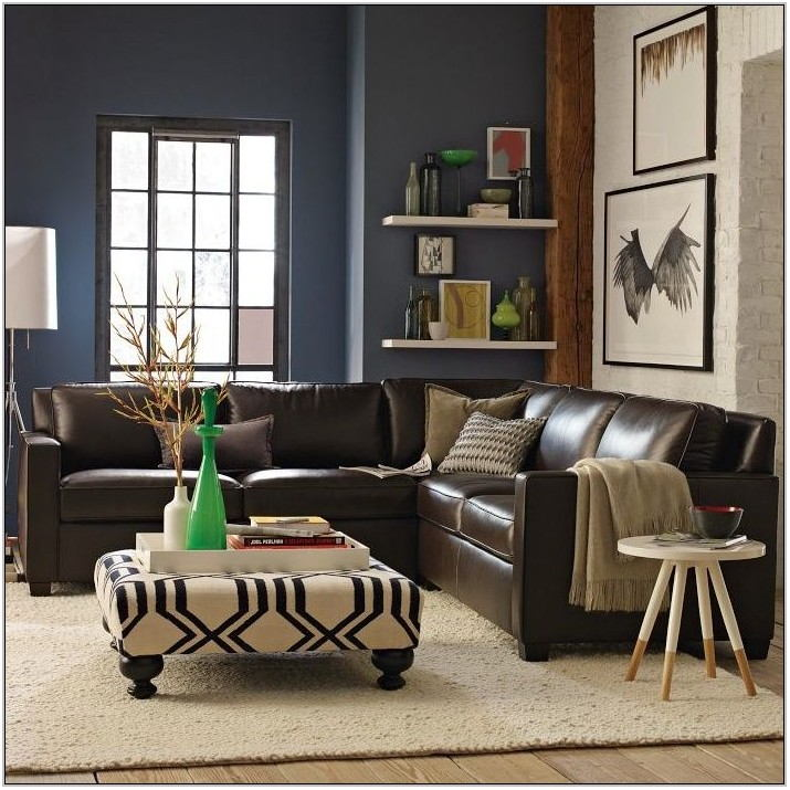 Blue Leather Couch Living Room