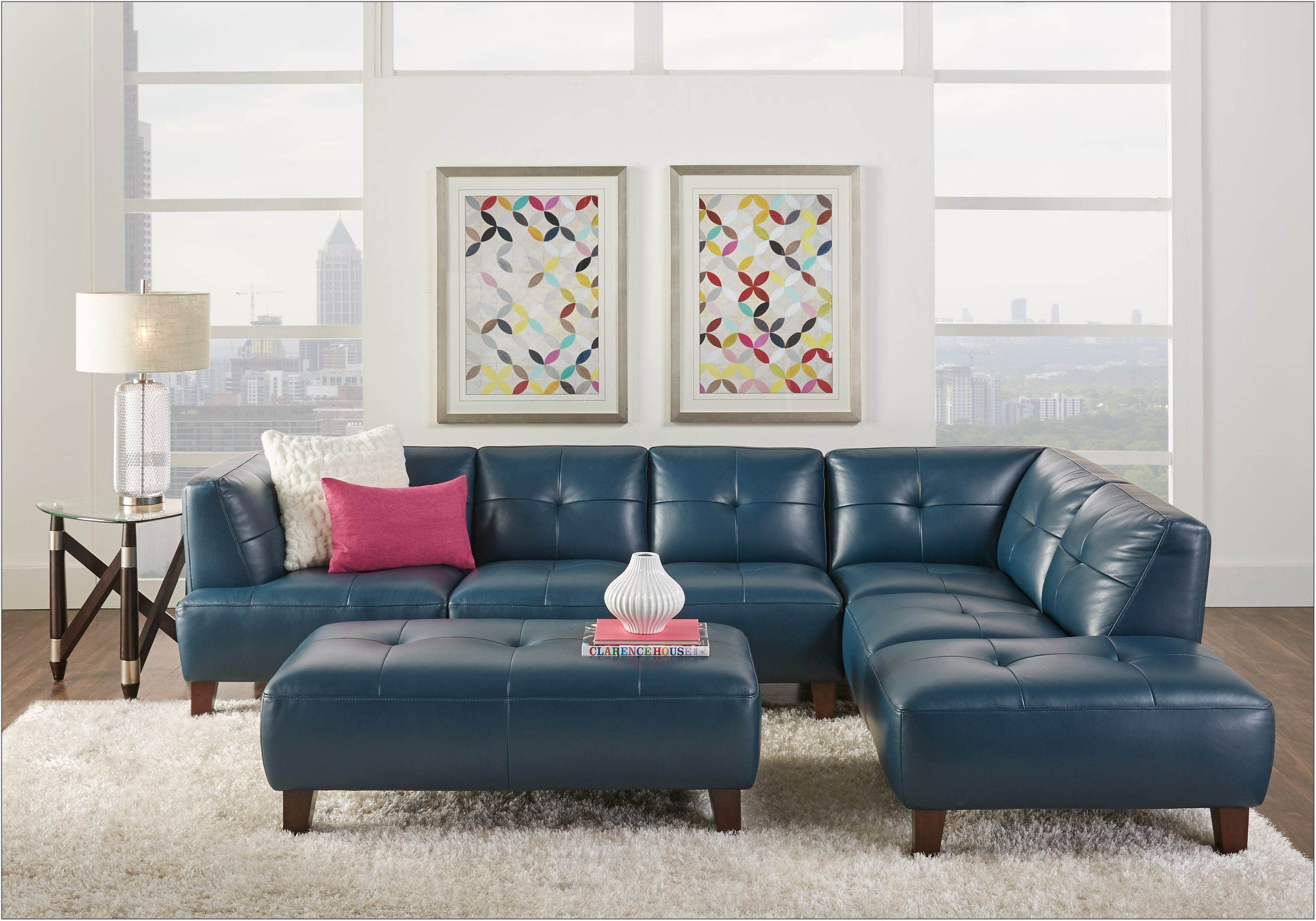 Blue Leather Living Room Furniture