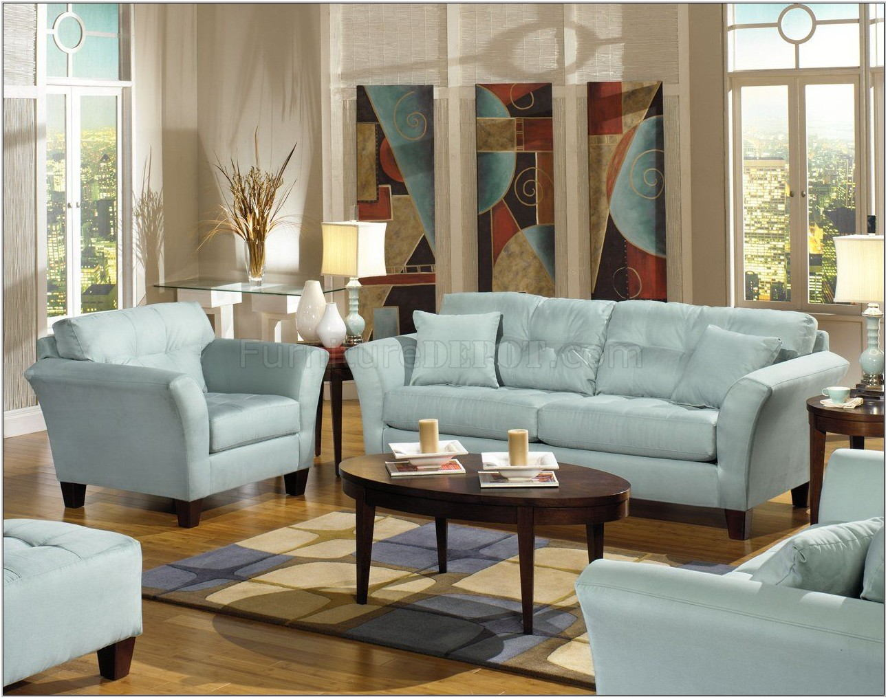 Blue Leather Sofa Living Room Ideas
