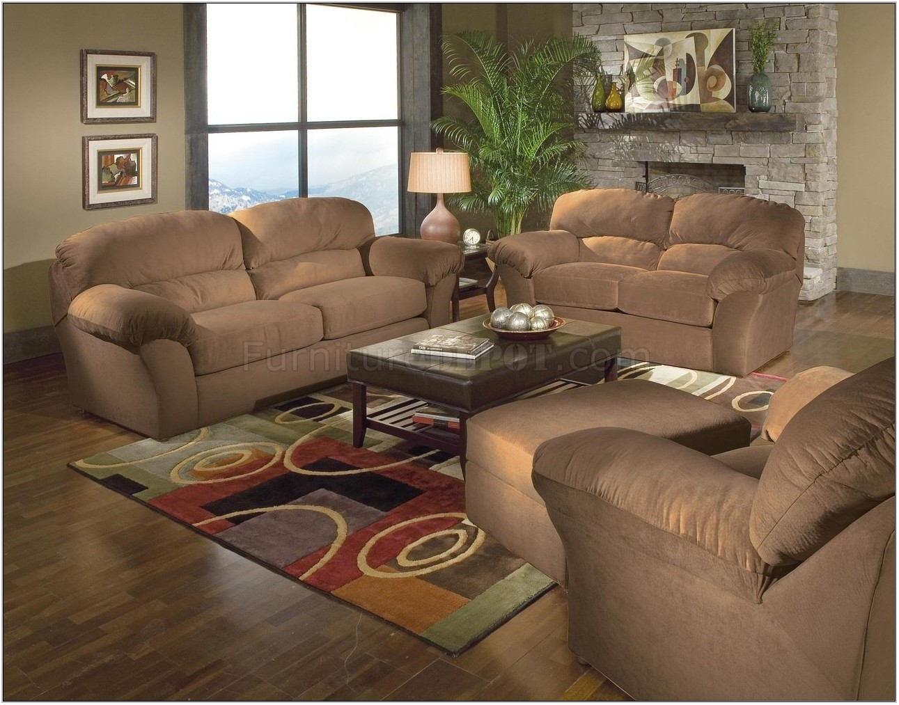 Brown Suede Living Room Set