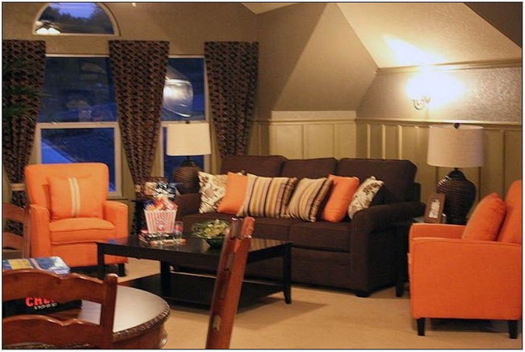 Burnt Orange And Brown Living Room Decor