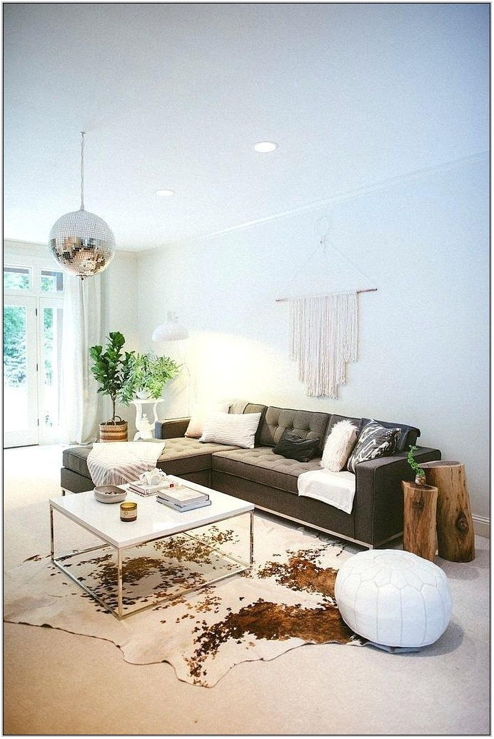 Cowhide Rug In Modern Living Room