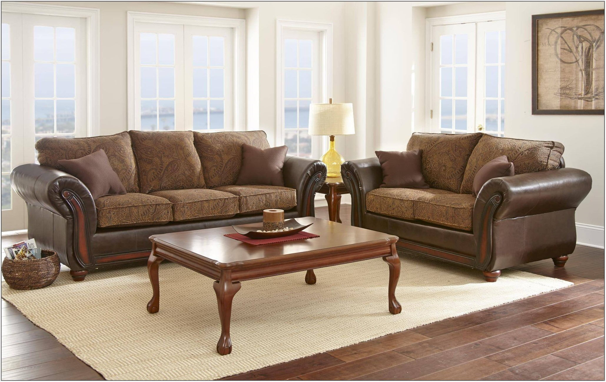 Dark Brown Leather Living Room Set
