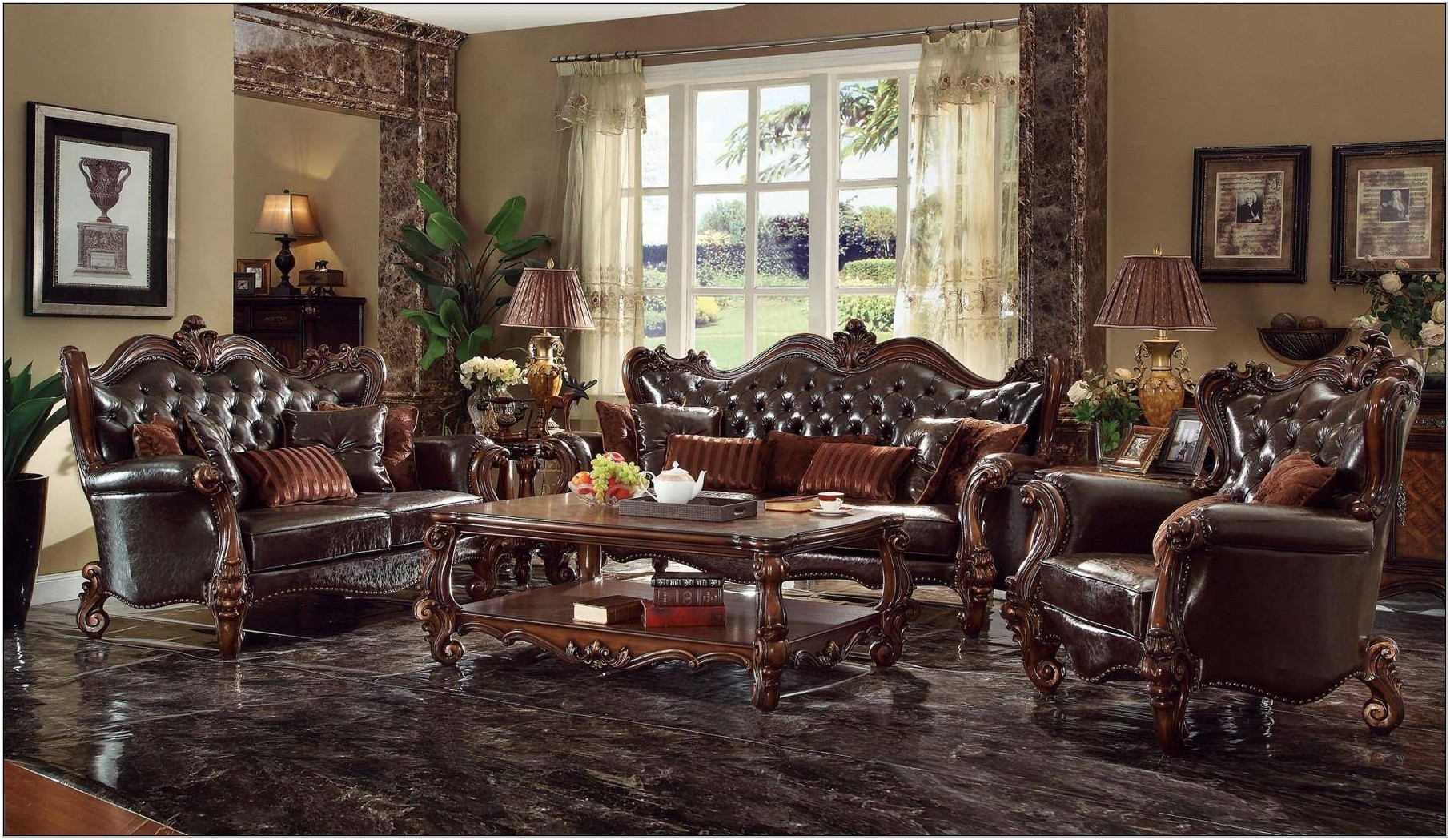 Dark Brown Living Room Furniture Set