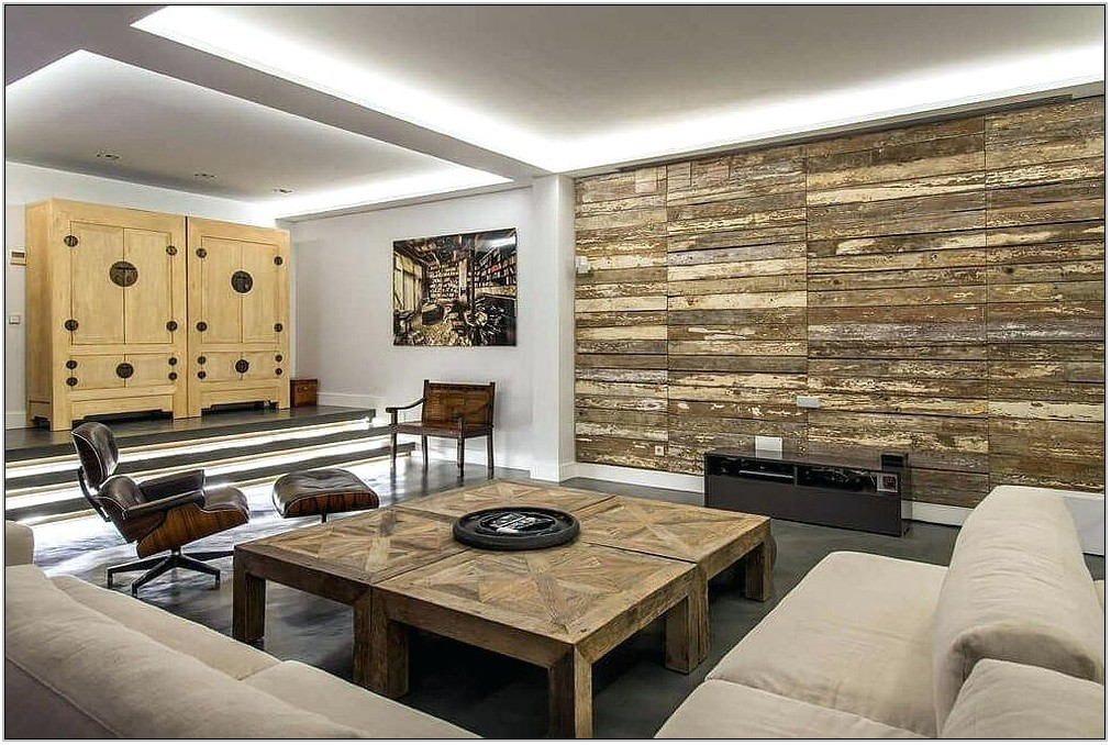 Faux Stone Accent Wall Living Room