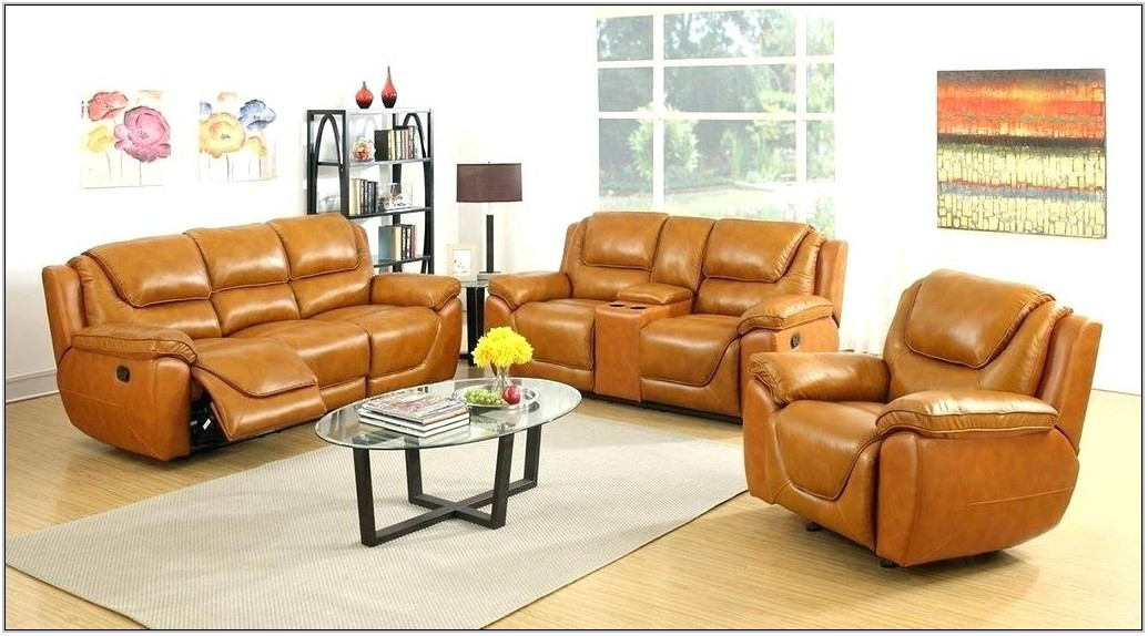 Genuine Leather Reclining Living Room Sets