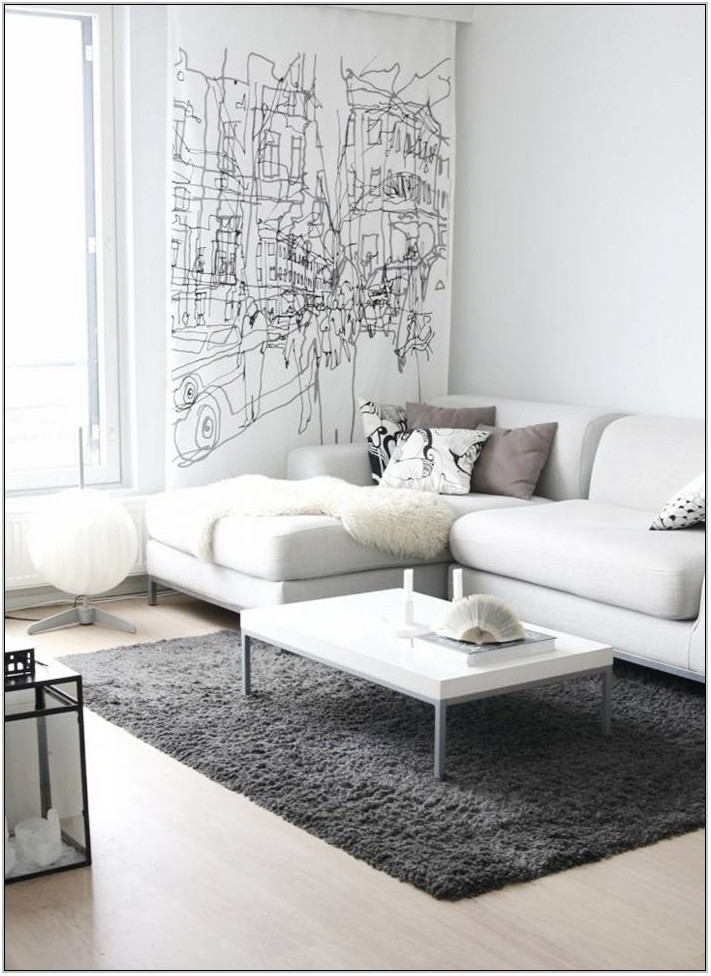 Gray And White Living Room Rug