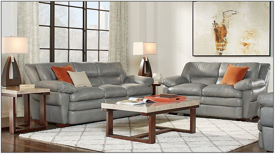 Gray Leather Living Room