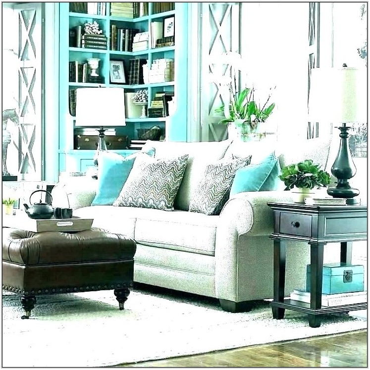 Gray White Turquoise Living Room