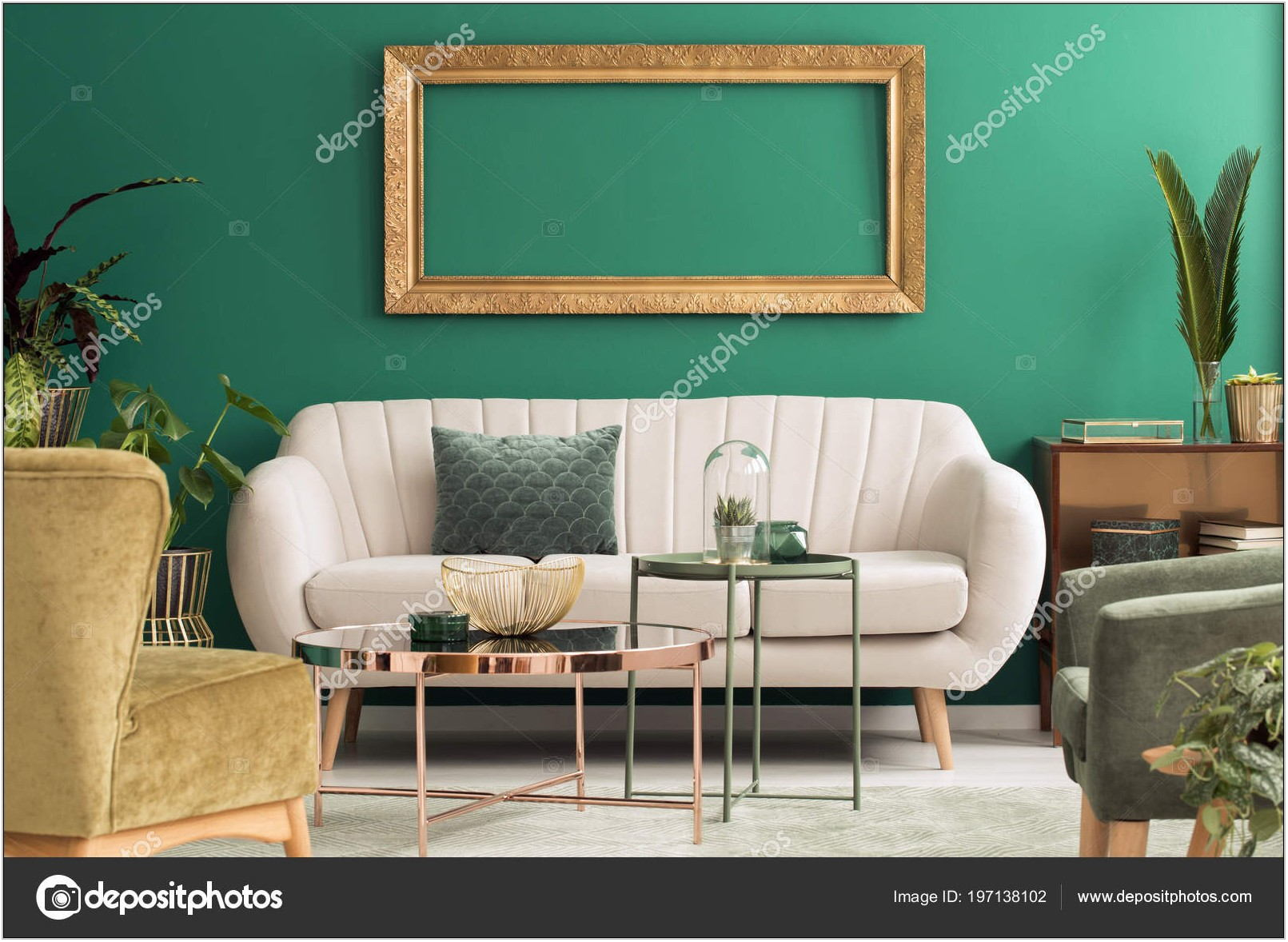 Green And Gold Living Room