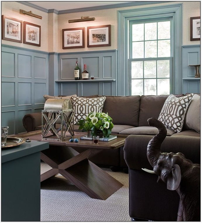 Grey Blue And Brown Living Room Design