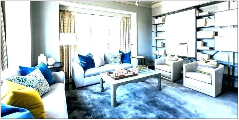 Grey Blue Yellow Living Room