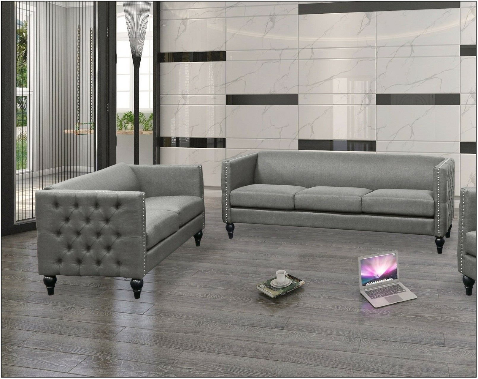 Grey Tufted Living Room Set