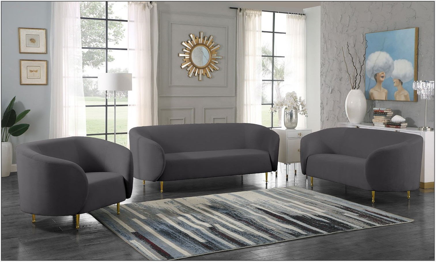 Grey Velvet Living Room Set