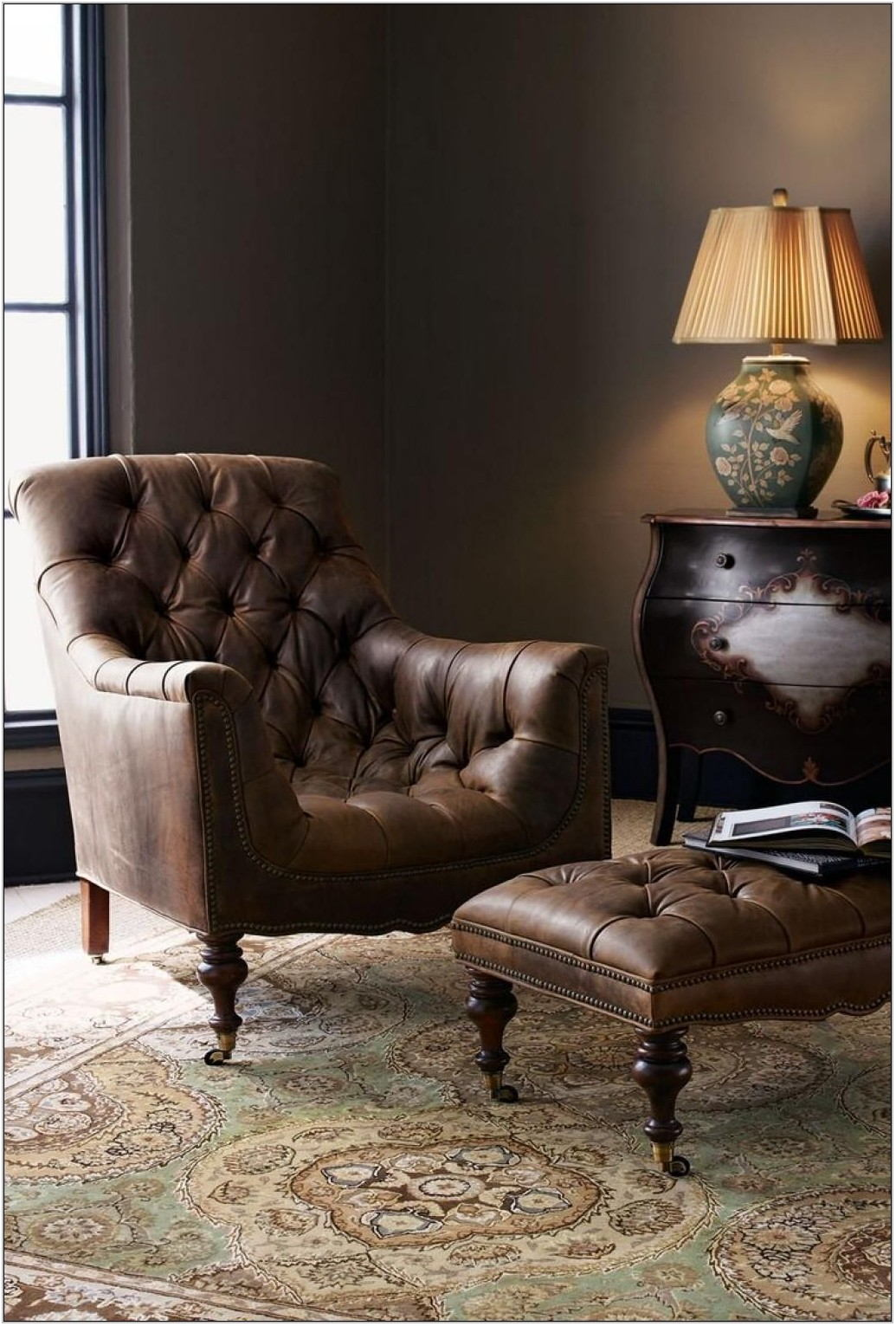 Leather Living Room Chair With Ottoman