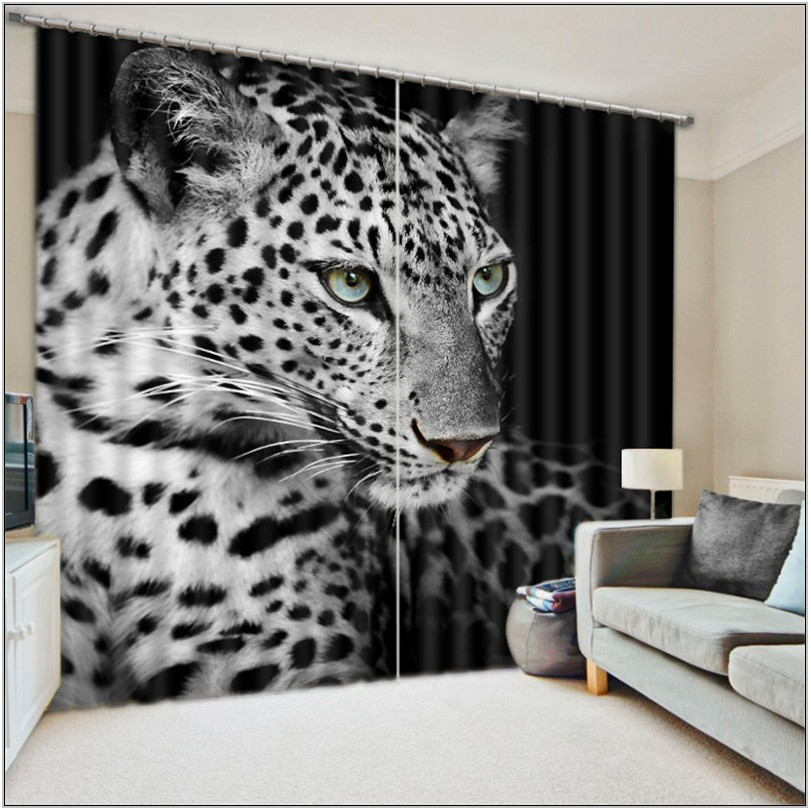 Leopard Living Room Curtains