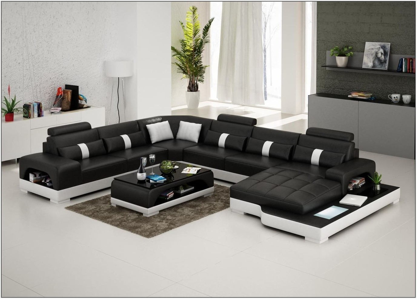 Living Room Furniture Leather Sectional