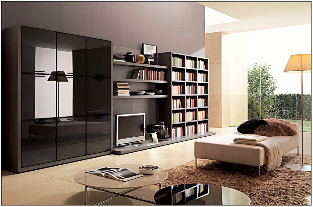 Living Room Storage With Doors
