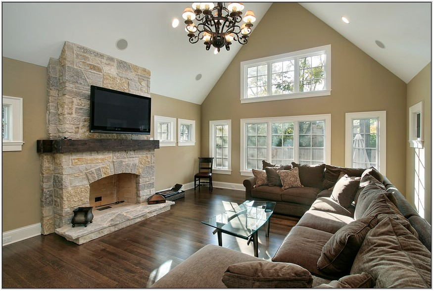 Living Room Wall Colors With Stone Fireplace
