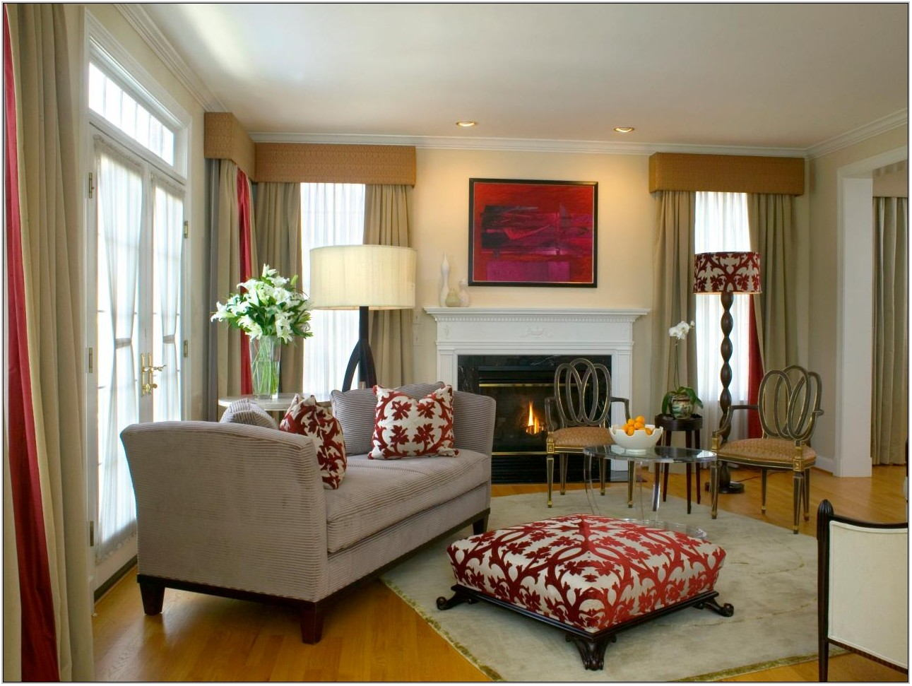 Living Room With Red Accents