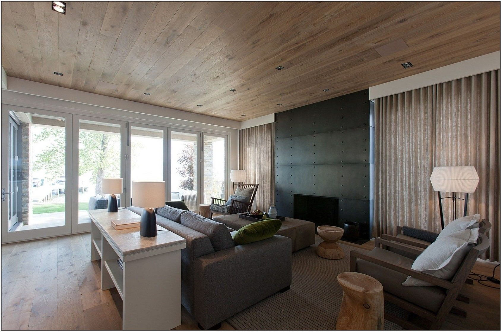 Living Room Wood Ceiling