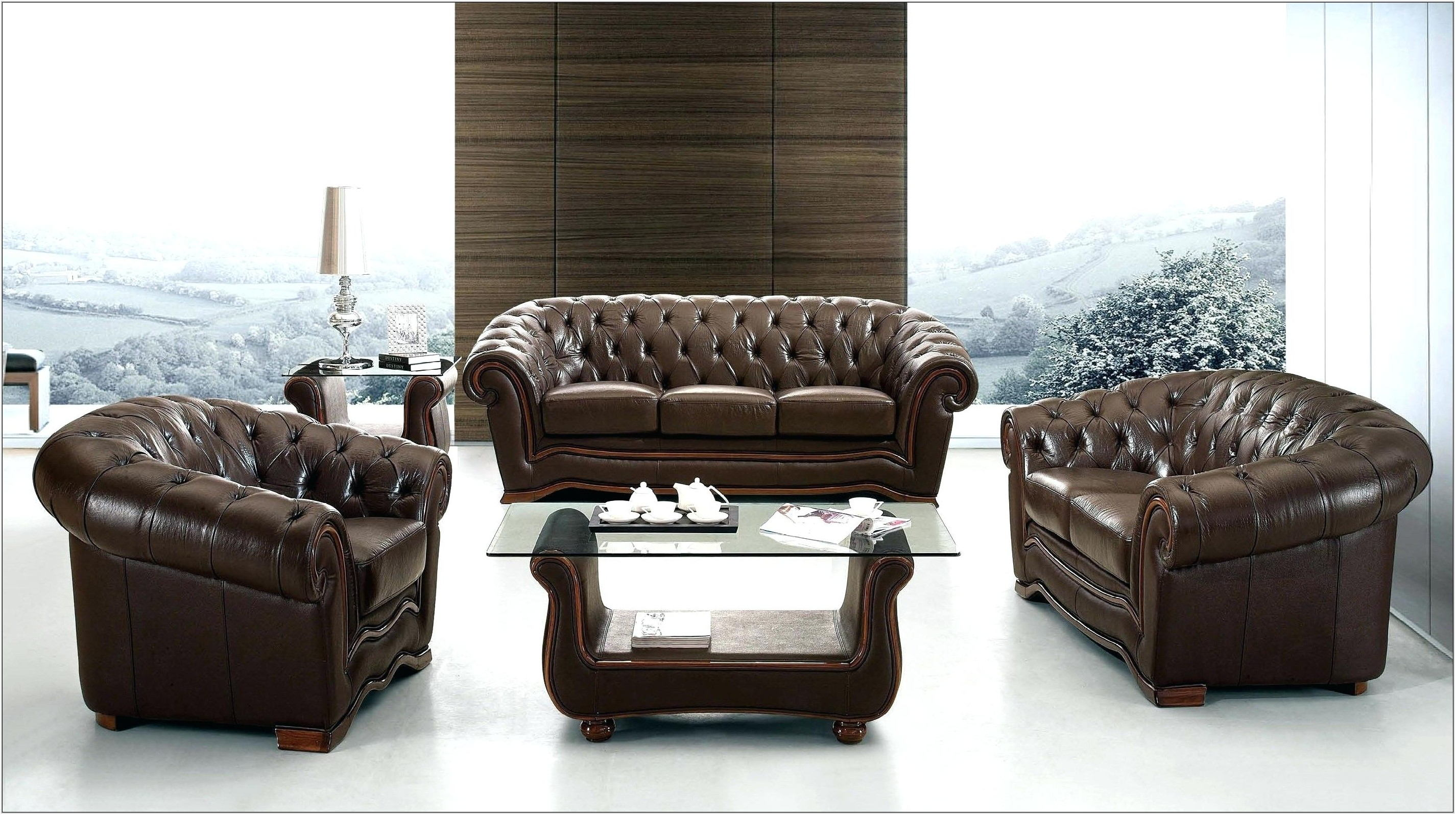 Modern Italian Leather Living Room Set