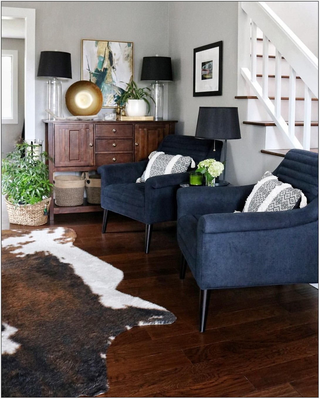 Navy Chairs In Living Room
