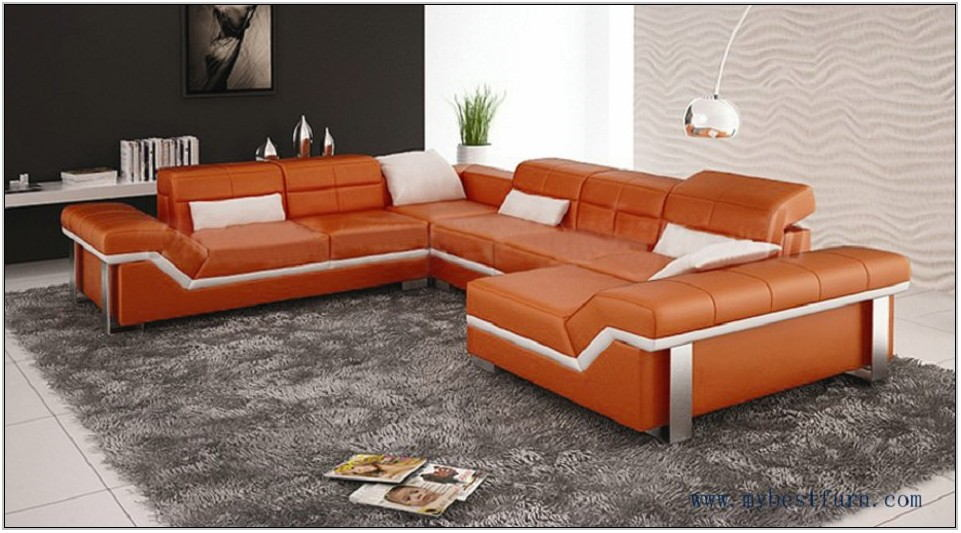 Orange Leather Living Room Set