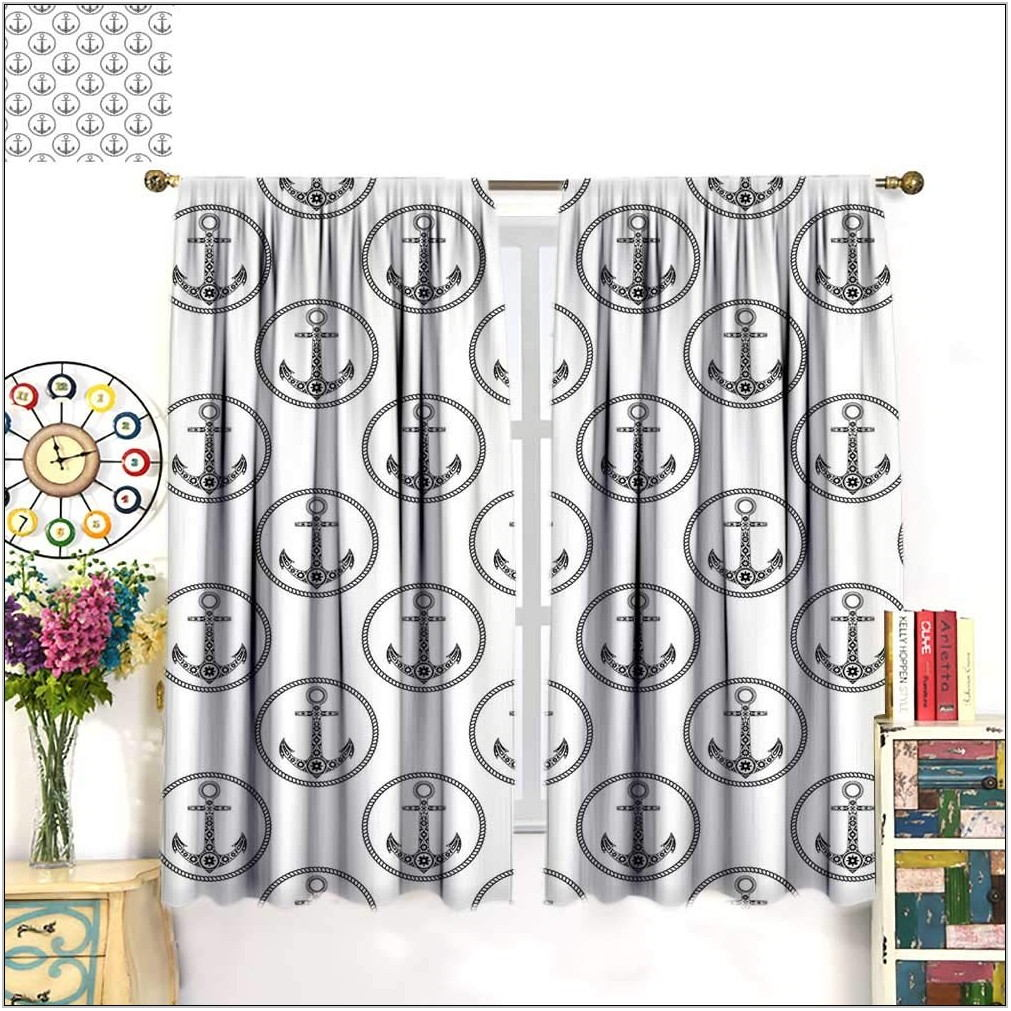 Patterned Drapes In Living Room