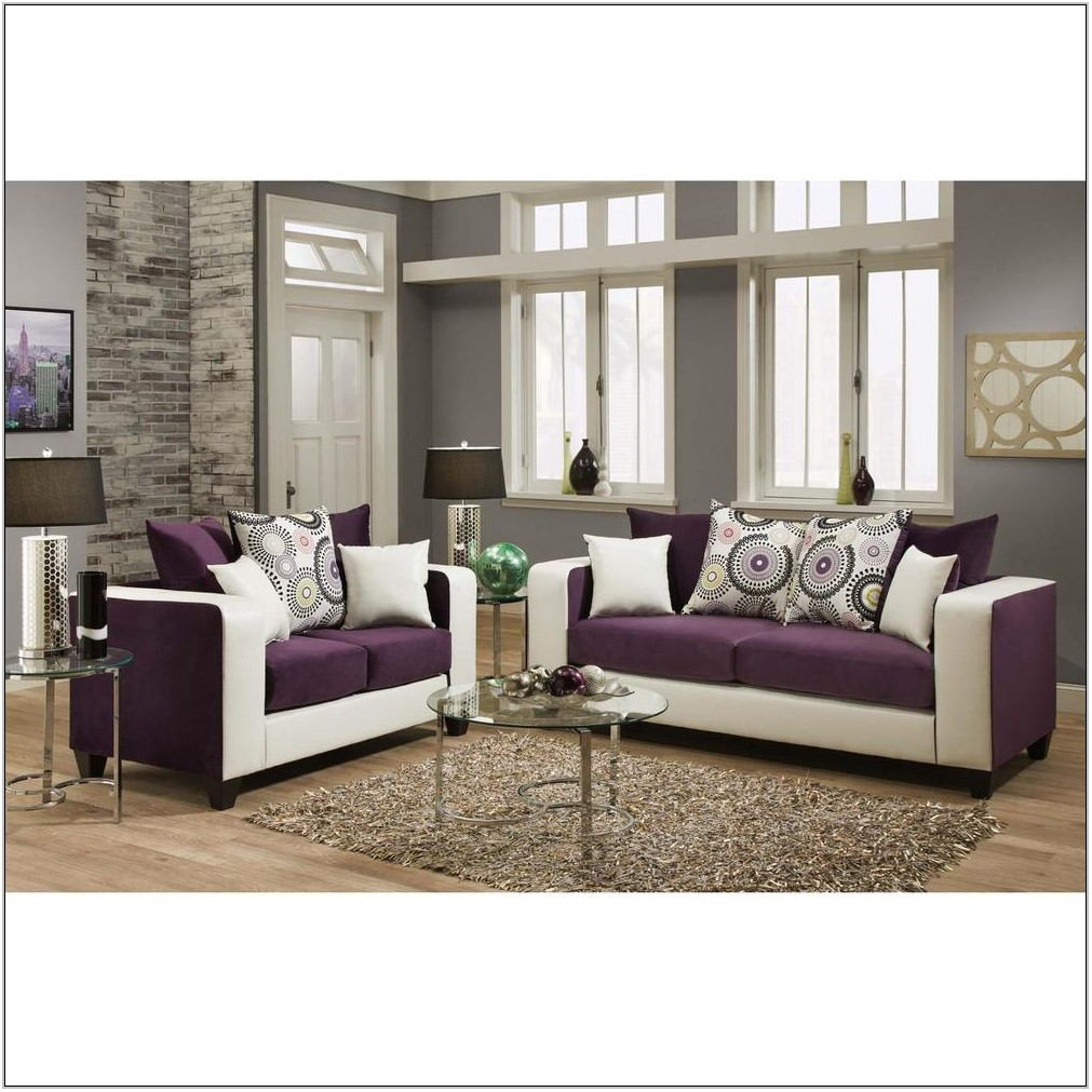 Purple And White Living Room Set