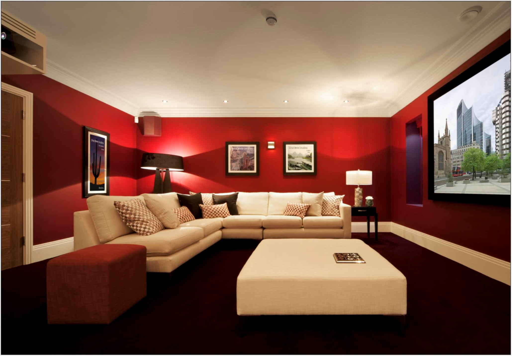 Red Color Scheme Living Room