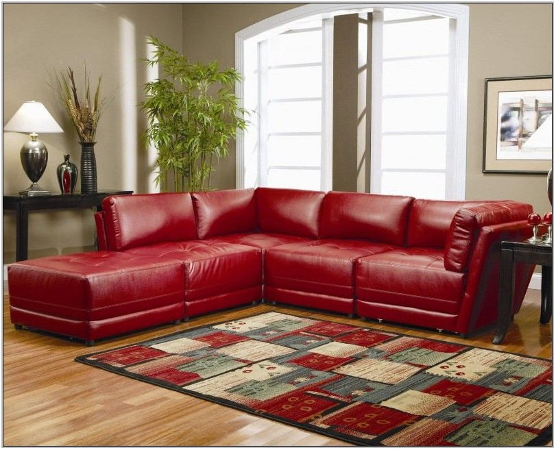 Red Leather Couch Living Room